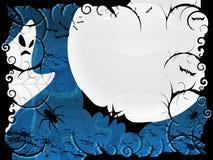 Tarjeta o fondo de Víspera de Todos los Santos en diseño azul Fotos de archivo