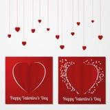 Tarjeta o fondo múltiple del extracto del día de tarjeta del día de San Valentín con el corte y corazones y texto de papel doblad libre illustration
