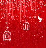 Tarjeta o invitación de felicitación con los corazones y los pájaros Imagen de archivo