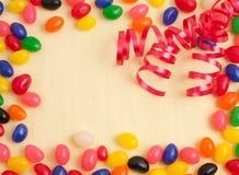 Tarjeta o invitación de la fiesta de cumpleaños de la haba de jalea Fotos de archivo libres de regalías
