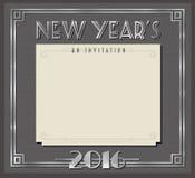 Tarjeta o invitación retra Art Deco Style del partido del Año Nuevo Foto de archivo