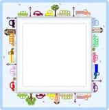Tarjeta o marco de felicitación del bebé con los coches Fotos de archivo