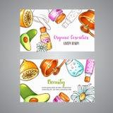 Tarjeta orgánica de los cosméticos Elementos dibujados mano del balneario y del aromatherapy Bosquejo del vector de la historieta stock de ilustración