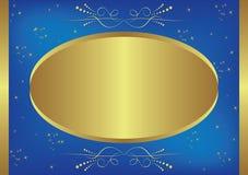 tarjeta Oro-azul con las estrellas Fotografía de archivo libre de regalías