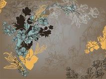 Tarjeta oscura con las flores Fotografía de archivo