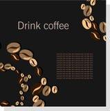 Tarjeta oscura del vector con los granos de café Imagen de archivo