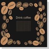 Tarjeta oscura del vector con los granos de café Foto de archivo libre de regalías