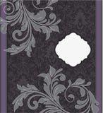 Tarjeta púrpura de la invitación de la boda del damasco Foto de archivo libre de regalías