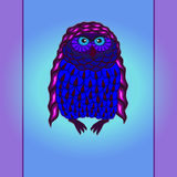 Tarjeta púrpura del búho Foto de archivo