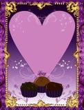 Tarjeta púrpura del chocolate Imágenes de archivo libres de regalías