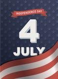 Tarjeta para el Día de la Independencia de América el 4 de julio Foto de archivo