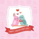 Tarjeta para el día de tarjeta del día de San Valentín con un fondo inconsútil label Cinta Fotografía de archivo