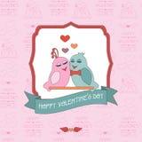 Tarjeta para el día de tarjeta del día de San Valentín con un fondo inconsútil pájaros label Cinta Fotografía de archivo libre de regalías