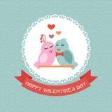 Tarjeta para el día de tarjeta del día de San Valentín pájaros Cinta label Vector Fotos de archivo libres de regalías