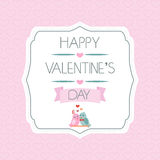 Tarjeta para el día de tarjeta del día de San Valentín pájaros Cinta tipografía label Vector libre illustration