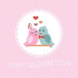 Tarjeta para el día de tarjeta del día de San Valentín pájaros Corazón Imagenes de archivo