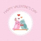 Tarjeta para el día de tarjeta del día de San Valentín pájaros Corazón label Vector Fotografía de archivo