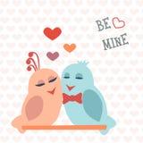 Tarjeta para el día de tarjeta del día de San Valentín pájaros Corazón PA tailandés Nang del nombre de la comida Vector Fotografía de archivo