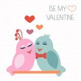 Tarjeta para el día de tarjeta del día de San Valentín pájaros Corazón Sea mi tarjeta del día de San Valentín Vector Fotos de archivo