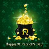 Tarjeta para el día del St. Patricks con el texto y el pote con g libre illustration