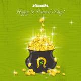 Tarjeta para el día del St Patricks con el texto y el pote con las monedas de oro Foto de archivo