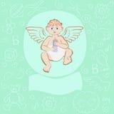 Tarjeta para el muchacho recién nacido stock de ilustración