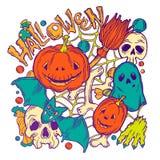Tarjeta para Halloween con los elementos del horror Fotografía de archivo libre de regalías