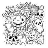 Tarjeta para Halloween con los elementos del horror Imagen de archivo libre de regalías