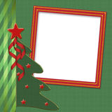 Tarjeta para la enhorabuena con el árbol de navidad Foto de archivo