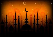 Tarjeta para la enhorabuena con el principio del mes de ayuno del Ramadán libre illustration
