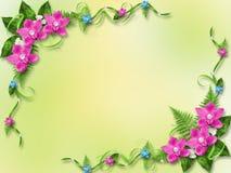 Tarjeta para la invitación con las orquídeas azules y rosadas Imágenes de archivo libres de regalías