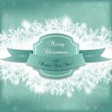 Tarjeta para las vacaciones de invierno con las ramas y el marco nevosos del abeto Imagen de archivo libre de regalías