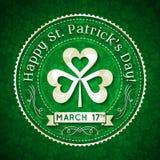 Tarjeta para St. Patrick Day con el texto y el trébol Imagen de archivo libre de regalías