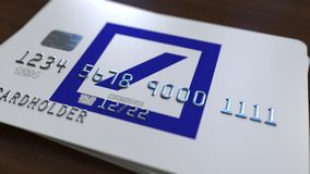 Tarjeta plástica con el logotipo del DB de Deutsche Bank Representación conceptual editorial 3D Ilustración del Vector