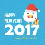Tarjeta plana del Año Nuevo del diseño con el gallo lindo de la historieta en el sombrero de santa, símbolo del año 2017 Foto de archivo libre de regalías