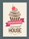 Tarjeta, plantilla o folleto del menú para la casa dulce Imágenes de archivo libres de regalías