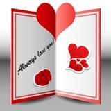 Tarjeta plegable de la tarjeta del día de San Valentín Fotos de archivo libres de regalías
