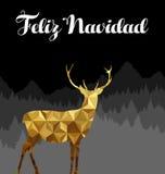 Tarjeta polivinílica baja del navidad del oro español de los ciervos de la Navidad Foto de archivo libre de regalías