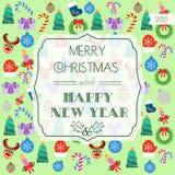 Tarjeta por la Navidad y el Año Nuevo tipografía Diseño plano Imagen de archivo