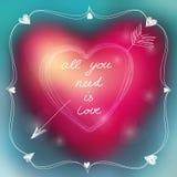Tarjeta preciosa de la tarjeta del día de San Valentín Ilustración del vector Fotos de archivo