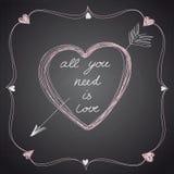 Tarjeta preciosa de la tarjeta del día de San Valentín Ilustración del vector Fotos de archivo libres de regalías