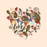 Tarjeta preciosa linda del corazón de la tarjeta del día de San Valentín Imagen de archivo
