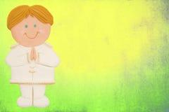 tarjeta, primera comunión, muchacho Imagen de archivo