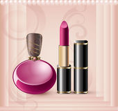 Tarjeta promocional con perfume stock de ilustración