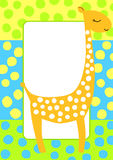 Tarjeta punteada de la invitación del marco de la jirafa Fotos de archivo libres de regalías