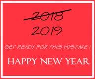 Tarjeta que desea de la Feliz Año Nuevo 2019 foto de archivo libre de regalías