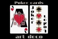 Tarjeta que juega del póker Corazón de Ace Comodín Tarjetas del póker en el estilo del art déco Tarjeta de tamaño estándar Fotos de archivo libres de regalías
