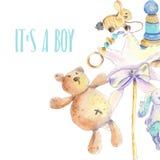 Tarjeta recién nacida de los juguetes stock de ilustración