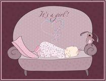 Tarjeta recién nacida el dormir del bebé Fotos de archivo