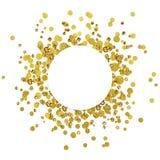 Tarjeta redonda blanca en confeti dispersado del oro Imagen de archivo libre de regalías